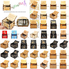 Wooden Music Box Game of Thrones Star Wars Engraved Toy Kid Xmas Gift Hand Crank