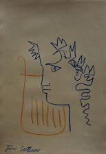 Fine Modernist portrait illustration study, drawing, signed Jean Cocteau