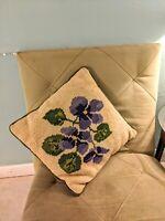 Vintage Needlepoint? Croche Throw Pillow Purple Flower corduroy green 15 x 15