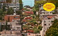 Old Chrome Postcard I264 Worlds Crookedest Street San Francisco Lombard Street
