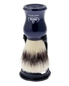 Blue Large Shaving Brush With Stand Pig Bristles 24mm/55mm Omega Italy