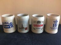LOT OF 4 Vintage German 0.5L Stoneware Beer Mugs (Gerz/More); FREE SHIP