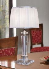 lampada da tavolo in cristallo lume con paralume in seta plissé lume moderna
