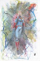 "11 x 17"" Original Captain Marvel Carol Danvers Comic Art Color Acrylic Painting"