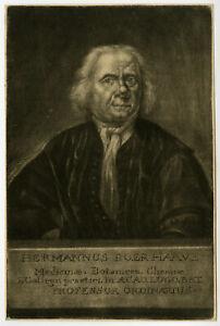 Rare Antique Master Print-HERMANUS BOERHAAVE-PHYSICIAN-BOTANIST-Groot-ca. 1720