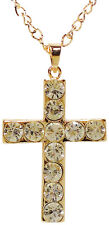 Large Gold Tone Cross Pendant Necklace With Rhinestone Crystals