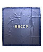 """Gucci Blue 100% Silk Scarf """"Guccy"""" Sega Print Gold Stars $495 With Invite Box"""