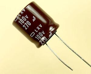 4pcs Nippon LXV 270uf 100v Radial Electrolytic Capacitors 105c 270mfd