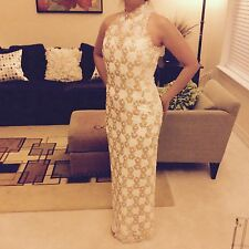 Demetrios White Gold sequin Homecoming prom formal dress size 6/8
