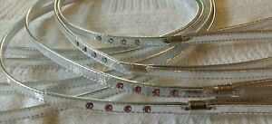 """MIRAGE SILVER  AND DIAMANTE DOG PUPPY LEAD LEASH 3/8TH"""" X 1.2M LONG GOLD FITTING"""