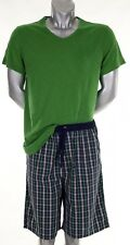 Marc o`Polo gewebter kurzer Pyjama Schlafanzug V Ausschnitt Homewear grün marine