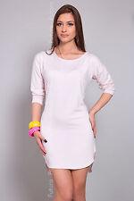 Women's Asymmetric Mini Dress Boat Neck Tunic 3/4 Sleeve Top Size 8-12 FT991