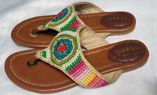 The Sak Women 6 Rainbow Crochet Everyday Casual Flat Thong Sandal Flip Flops
