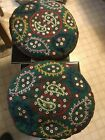 Vintage Patchwork Embroidered Round Pillows Cushion Cover pair 16'