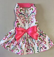Pet Clothes Harness Dress Paisley Print With Bow Size: 6 XS