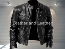 Biker Cafe Racer Vintage  Mens Retro Style Casual Motorcycle Real Leather Jacket