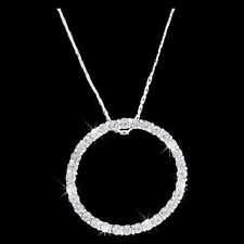 """Pewter Eternity Circle Clear CZ Pendant on 16"""" Chain"""