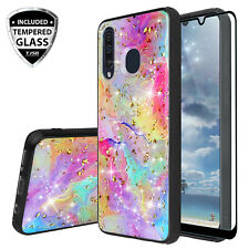 For Galaxy A20 A50 A30 Case Marble Rainbow Glitter Bling TPU +Tempered Glass