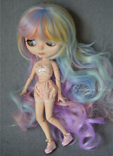 "【Tii】8-10"" NEO 12"" Blythe Hair doll wig ice cream fantasy curly long not scalp"