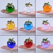 Large 80mm Crystal Apple Figurine Paperweight Glass Ornament Christmas Gift Box