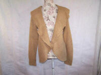 Dressbarn Cardigan Sweater PXL Open Front Long Sleeves Tan Acrylic Knit Womens
