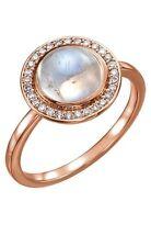 14K Rose Gold Halo Moonstone Gem & 1/8 cttw Diamonds
