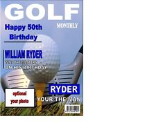 "Portada de la revista de Golf Cake Topper Personalizados A4 Glaseado Hoja 10""x8"""