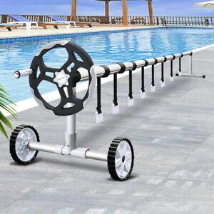 Adjustable Swimming Pool Cover Roller Solar Bubble Blanket Reel Wheels 6M Black