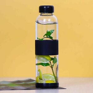 Fridge Water Bottle Made Of Borosilicate Glass (500Ml,1 Pc)With Silicone Grip