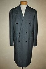 $2499 ETRO Milano 50 DB Striped Black & Gray Multi Topcoat Overcoat Italy RARE