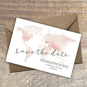 Personalised Destination Wedding Save the Date,anywhere in the world,packs of 10