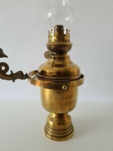 VINTAGE BRASS BOAT OIL LAMP MOUNTED ON WALL GYROSCOPE EX. CONDITIONS
