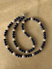 Collar 56 cm Lapislázuli natural y perlas cultivadas. Cierre plata de ley maciza
