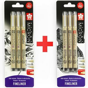 6x Sakura Pigma Micron Fineliner Pens - 0.3/0.5mm/Graphic+0.1/0.5mm/Brush -Black