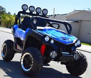RED KIDS RIDE ON 4X4 BEACH BUGGY CAR ATV UTV WITH SPOT LIGHTS BLUE