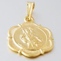 St Christopher Travellers Saint Hallmarked 9ct 9k Yellow Gold Pendant Charm Box