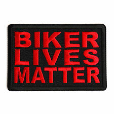 Embroidered Biker Lives Matter Red on Black Sew or Iron on Patch Biker Patch