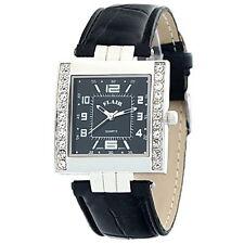 Edle Damenuhr Flair Armbanduhr Silber Schwarz PU Leder Strass 4212345019227
