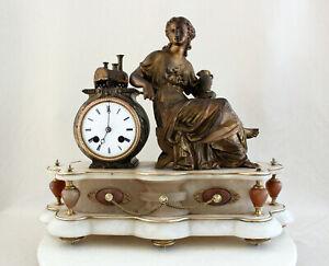 ANTIQUE 1880 FRENCH CLOCK GRACIEUS STATUE ART NOUVEAU ALABASTER