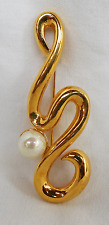 Vintage Ciro Gold Plate and Faux Pearl Brooch - Boxed