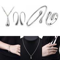 4Pcs/Set 925 Silver Drop Jewellery Sets Necklace Bracelet Bangle Earrings Ring