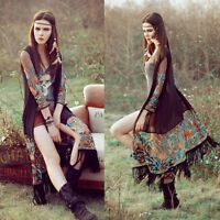 Women Vintage Boho Tassels Loose Shawl Kimono Cardigan Long   Tops Jacket Blouse