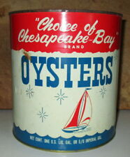 VINTAGE CHOICE OF CHESAPEAKE BAY OYSTER GALLON TIN CAN-PACKER NJ 210