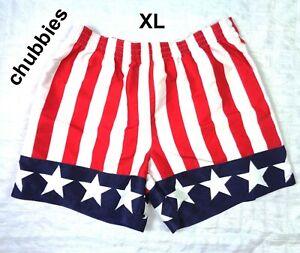 NWOT Chubbies USA American Flag Swim Trunks Shorts Snap Free Mericas Mens XL