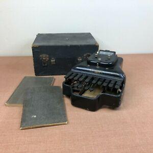 Antique Stenograph Type Machine Stenotype No. 3 1913 Patent W/ 2 Books & Case