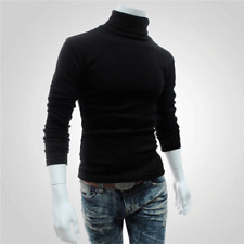Men's Winter Warm Cotton High Neck Pullover Jumper Knit Sweater Tops Turtleneck