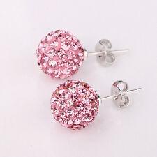 Women's Fashion Jewelry 925 Silver Plated Pink Rhinestone Stud Earrings 46-3