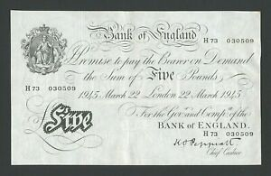BANK OF ENGLAND  £5 1945 Peppiatt WWII type B255 About EF Banknotes