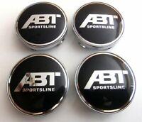 4x  60mm ABT Racing noir argent jantes couvercle moyeux capuchon roue enjoliveur
