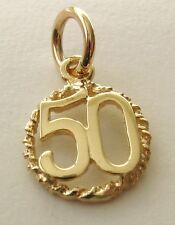 GENUINE SOLID  9K  9ct YELLOW GOLD  50 TH BIRTHDAY ANNIVERSARY CHARM/PENDANT